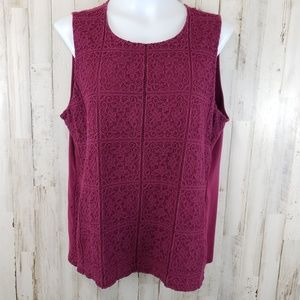 Ann Taylor Womens Top XL Purple Lace Overlay